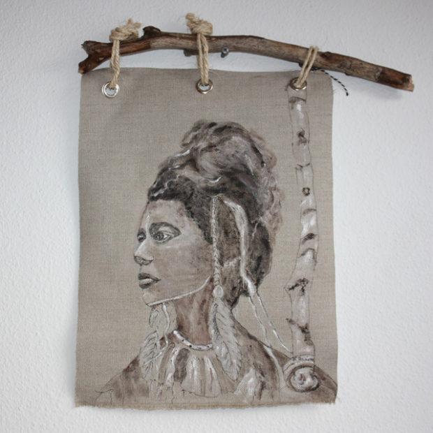 Handbeschilderde Indianen afbeelding op canvas 34 x 44 cm