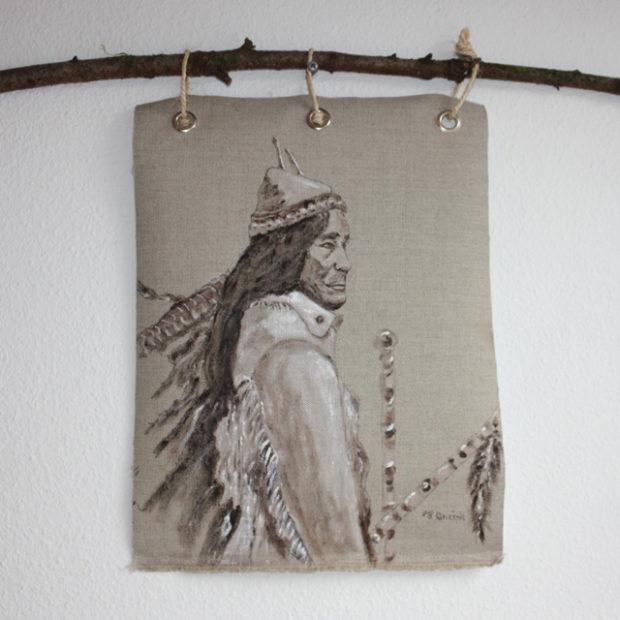 Stoere handgeschilderde Indiaan op canvas ca 34 x 44 cm