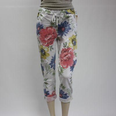 Stretch broek met vrolijke bloemenprint