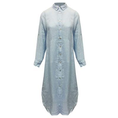Lange linnen doorknoop blouse/jurk blauwe dames