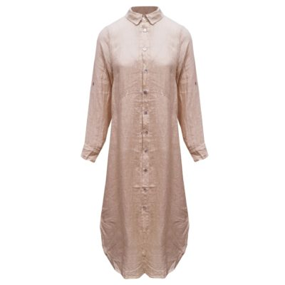Lange linnen doorknoop blouse/jurk roze dames