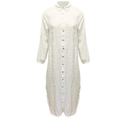 Lange linnen doorknoop blouse/jurk dames wit.