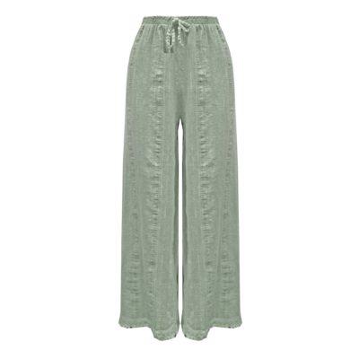 Linnen dames broek zacht groen