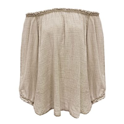 wafelkatoenen off shoulder blouse