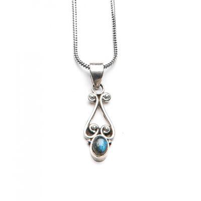 Heart Dark Moonstone Necklace 50CM Silver