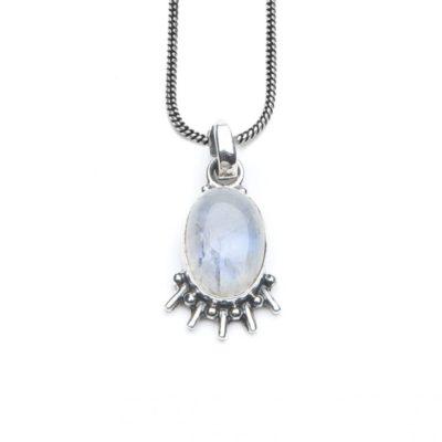 Moonstone Eye Necklace 50CM Silver